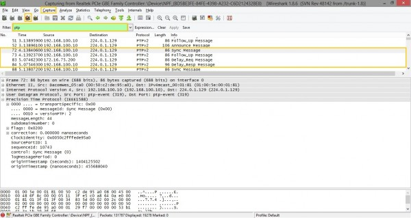 Wireshark PTP sequence