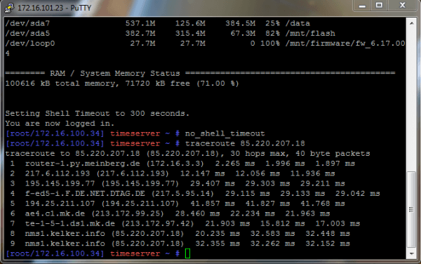 Traceroute to the ntppool server